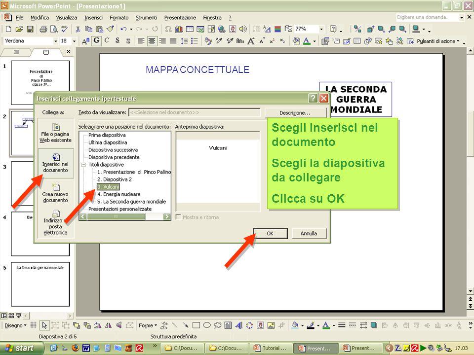 MAPPA CONCETTUALE Scegli Inserisci nel documento Scegli la diapositiva da collegare Clicca su OK Scegli Inserisci nel documento Scegli la diapositiva da collegare Clicca su OK