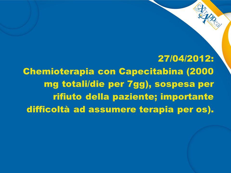 27/04/2012: Chemioterapia con Capecitabina (2000 mg totali/die per 7gg), sospesa per rifiuto della paziente; importante difficoltà ad assumere terapia