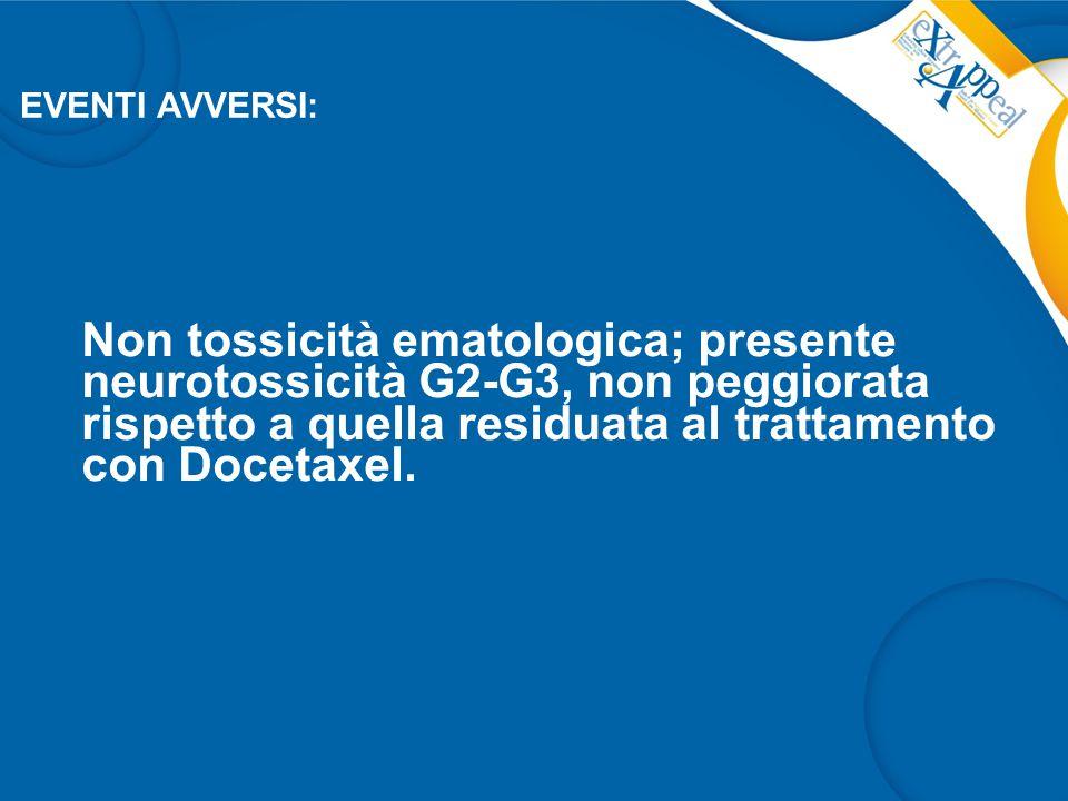 Non tossicità ematologica; presente neurotossicità G2-G3, non peggiorata rispetto a quella residuata al trattamento con Docetaxel. EVENTI AVVERSI: