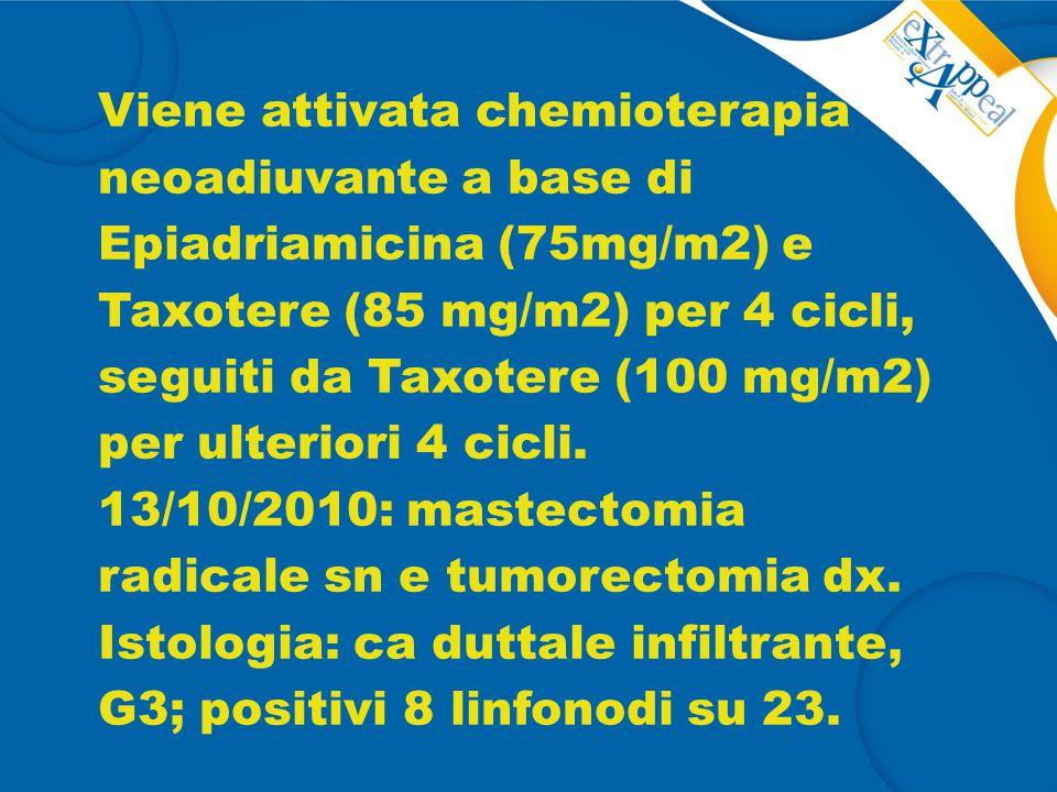Viene attivata chemioterapia neoadiuvante a base di Epiadriamicina (75mg/m2) e Taxotere (85 mg/m2) per 4 cicli, seguiti da Taxotere (100 mg/m2) per ul