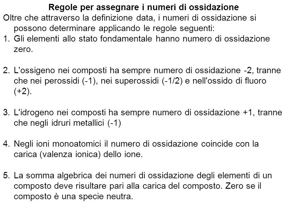 Regole per assegnare i numeri di ossidazione Oltre che attraverso la definizione data, i numeri di ossidazione si possono determinare applicando le re