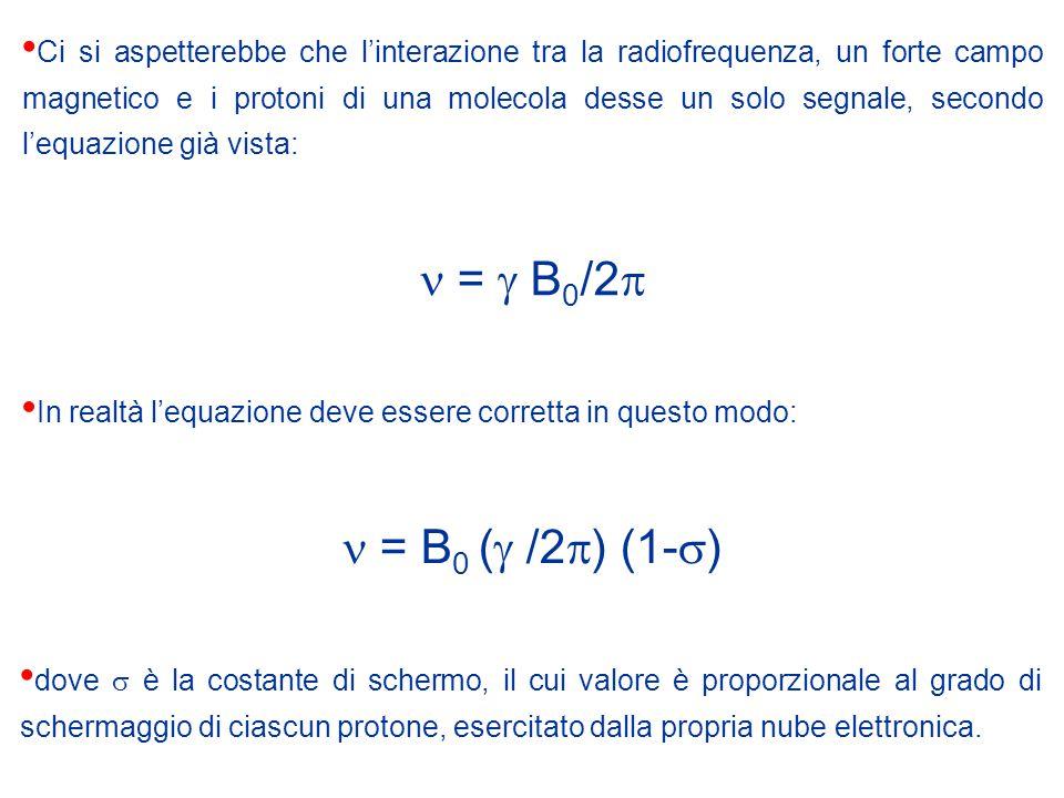 Ci si aspetterebbe che l'interazione tra la radiofrequenza, un forte campo magnetico e i protoni di una molecola desse un solo segnale, secondo l'equazione già vista: =  B 0 /2  In realtà l'equazione deve essere corretta in questo modo: = B 0 (  /2  ) (1-  ) dove  è la costante di schermo, il cui valore è proporzionale al grado di schermaggio di ciascun protone, esercitato dalla propria nube elettronica.