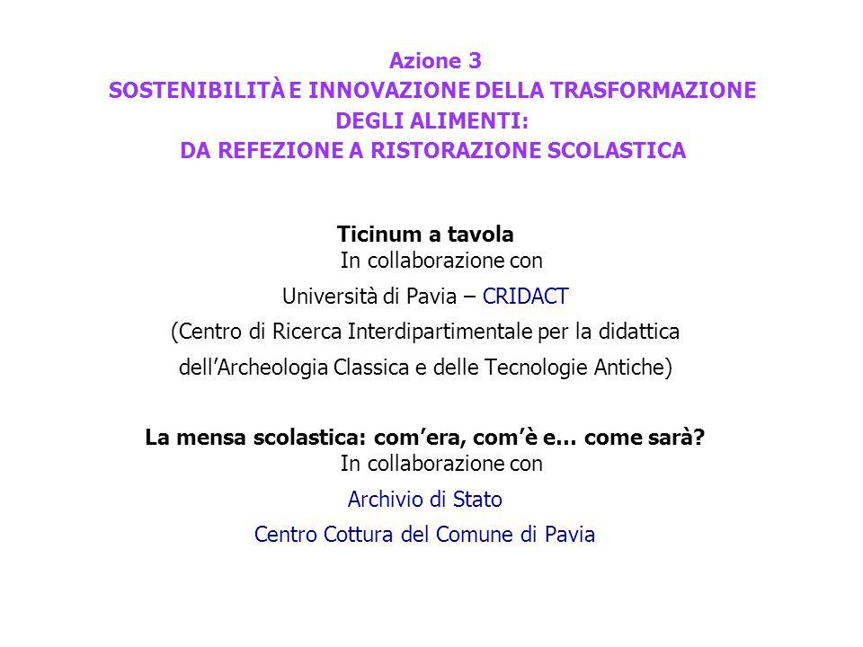 Azione 3 SOSTENIBILITÀ E INNOVAZIONE DELLA TRASFORMAZIONE DEGLI ALIMENTI: DA REFEZIONE A RISTORAZIONE SCOLASTICA Ticinum a tavola In collaborazione con Università di Pavia – CRIDACT (Centro di Ricerca Interdipartimentale per la didattica dell'Archeologia Classica e delle Tecnologie Antiche) La mensa scolastica: com'era, com'è e… come sarà.