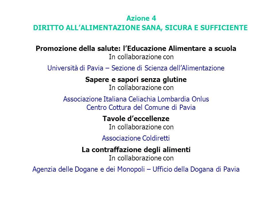 Azione 4 DIRITTO ALL'ALIMENTAZIONE SANA, SICURA E SUFFICIENTE Promozione della salute: l'Educazione Alimentare a scuola In collaborazione con Universi