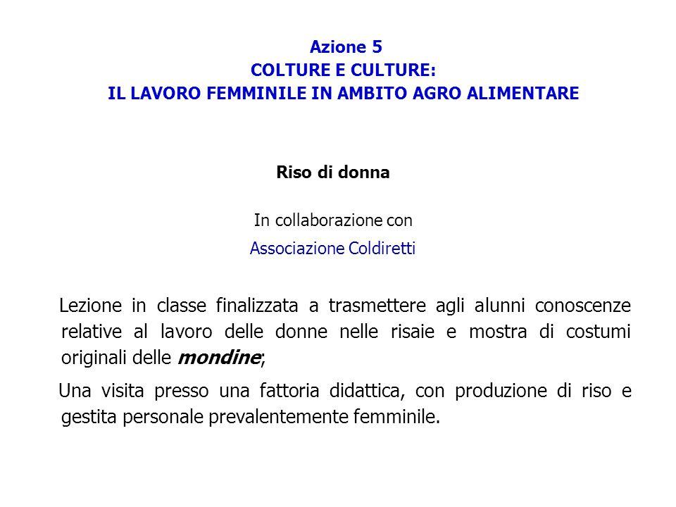 Azione 5 COLTURE E CULTURE: IL LAVORO FEMMINILE IN AMBITO AGRO ALIMENTARE Riso di donna In collaborazione con Associazione Coldiretti Lezione in class