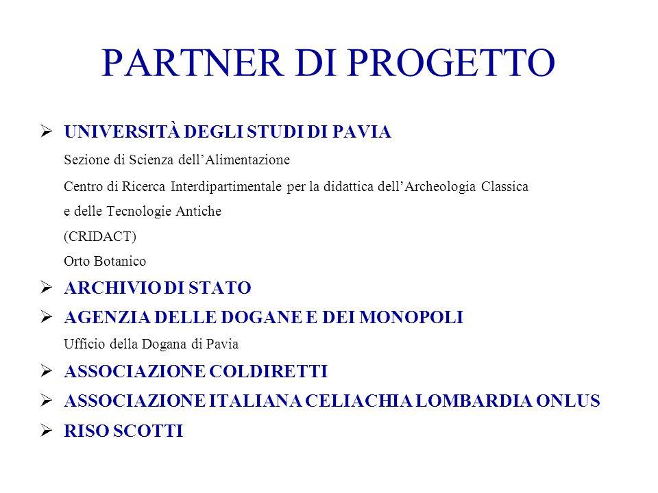 PARTNER DI PROGETTO  UNIVERSITÀ DEGLI STUDI DI PAVIA Sezione di Scienza dell'Alimentazione Centro di Ricerca Interdipartimentale per la didattica del