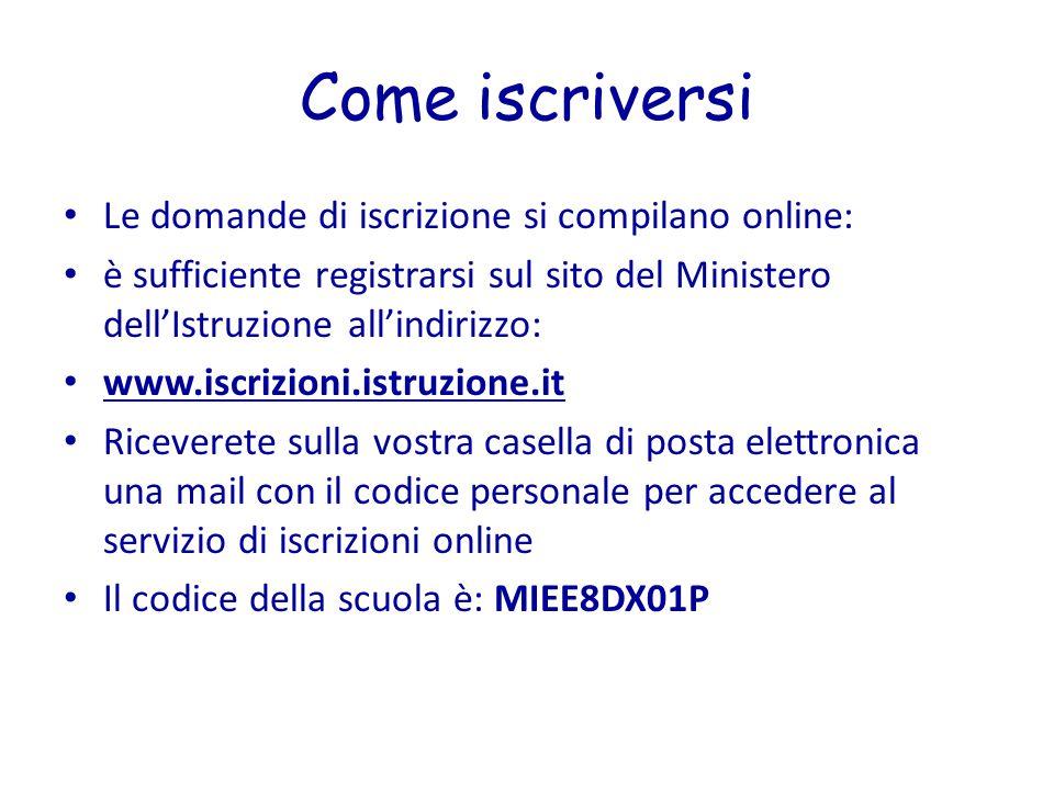 Come iscriversi Le domande di iscrizione si compilano online: è sufficiente registrarsi sul sito del Ministero dell'Istruzione all'indirizzo: www.iscr