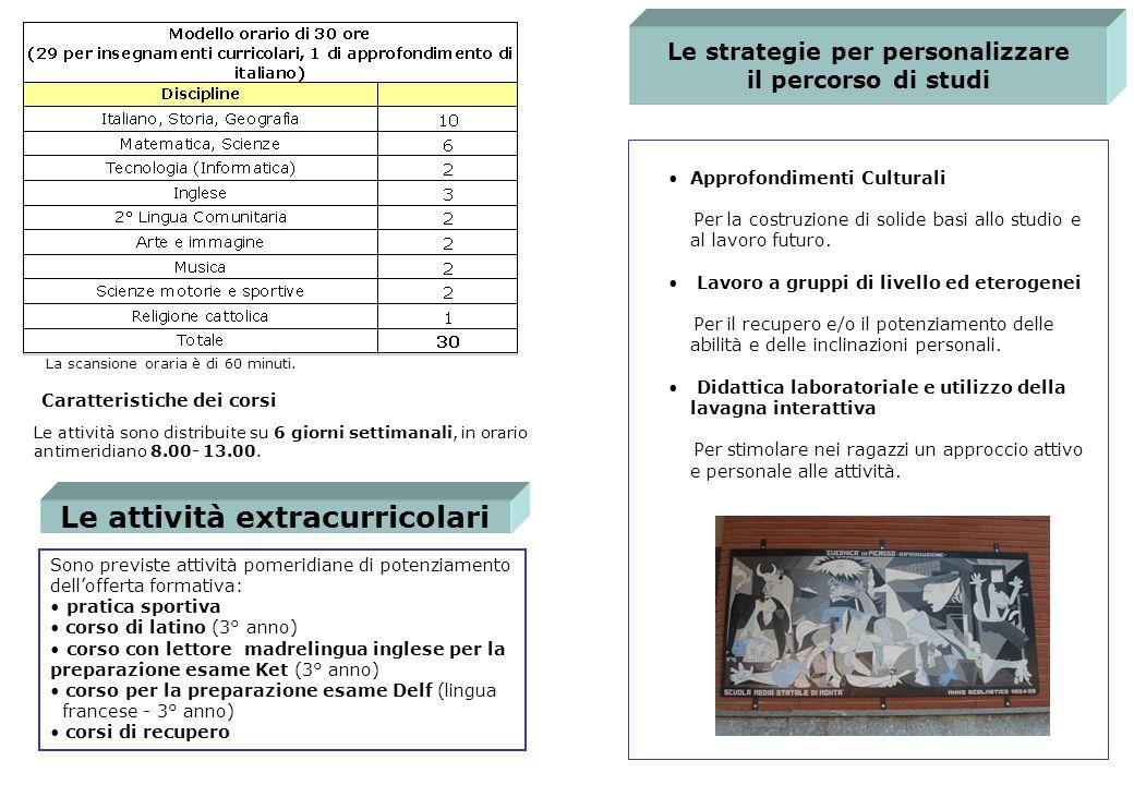 Le strategie per personalizzare il percorso di studi Approfondimenti Culturali Per la costruzione di solide basi allo studio e al lavoro futuro.