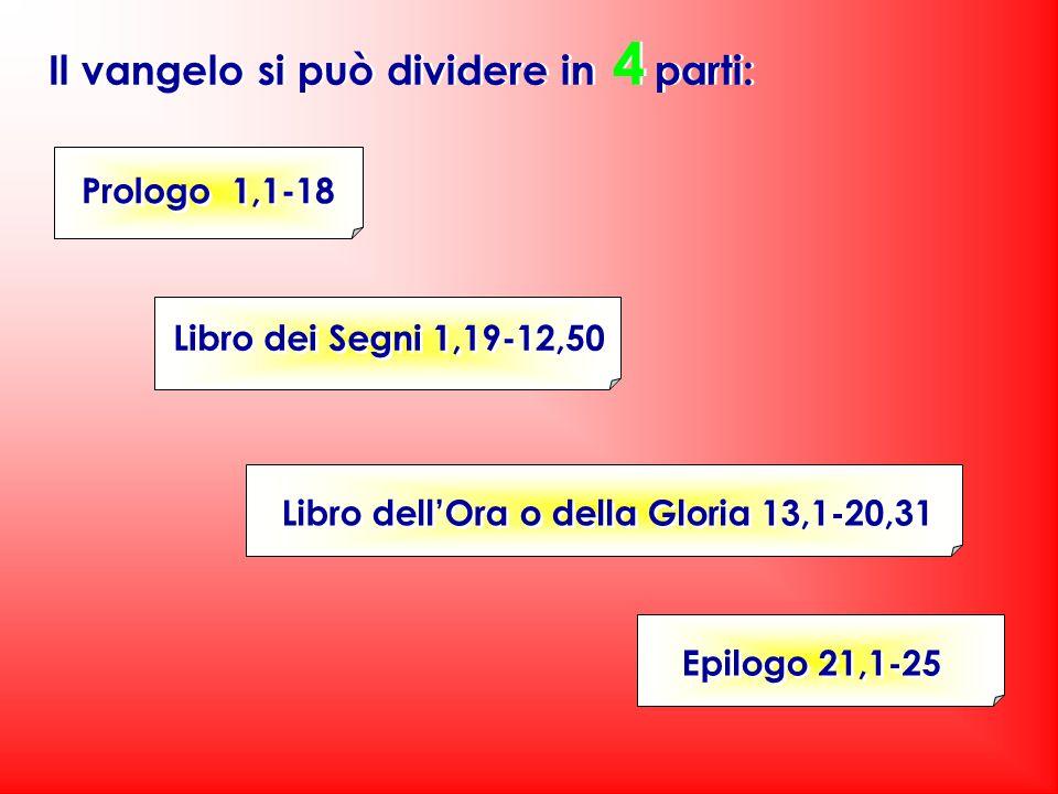 Il vangelo si può dividere in 4 parti: Epilogo 21,1-25 Libro dell'Ora o della Gloria 13,1-20,31 Prologo 1,1-18 Libro dei Segni 1,19-12,50