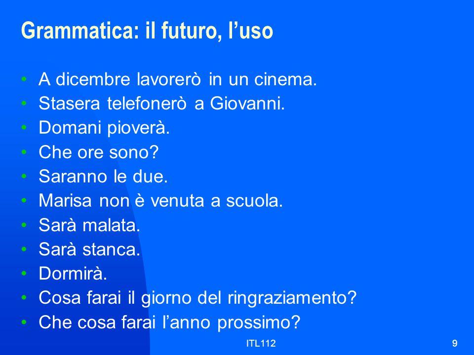 ITL1129 Grammatica: il futuro, l'uso A dicembre lavorerò in un cinema.