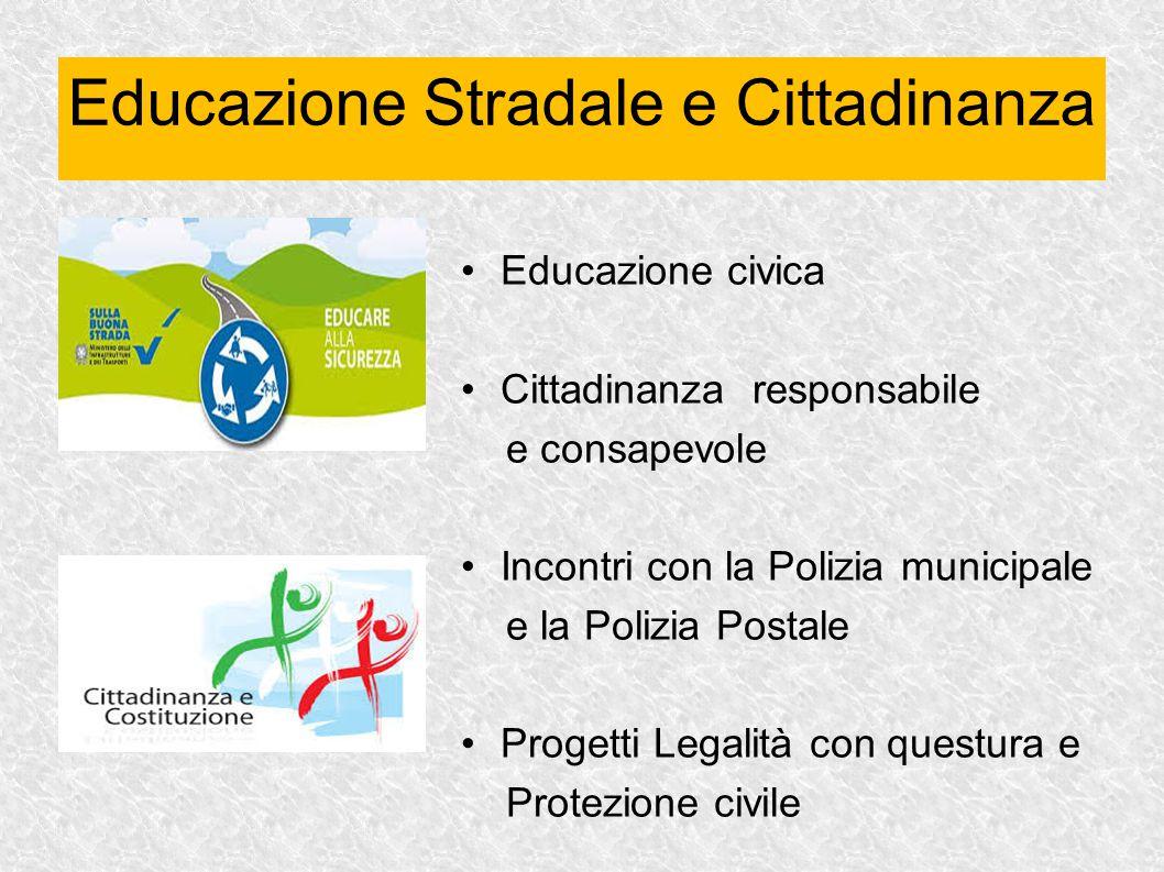 Educazione civica Cittadinanza responsabile e consapevole Incontri con la Polizia municipale e la Polizia Postale Progetti Legalità con questura e Pro
