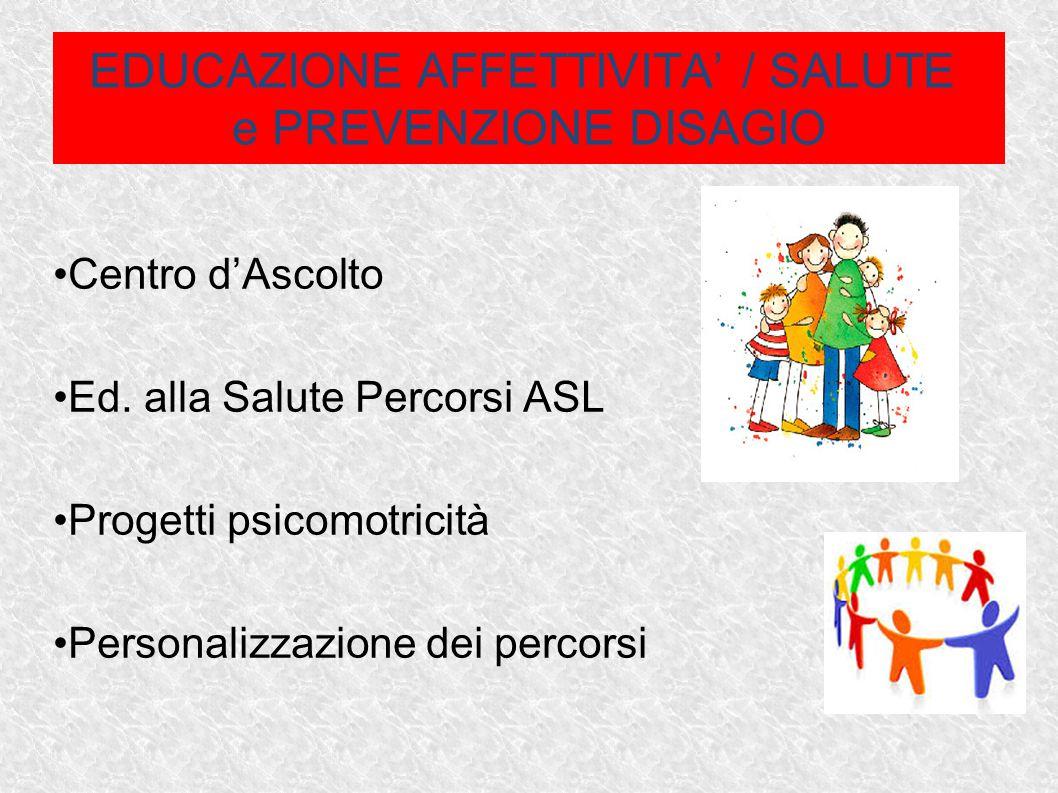 EDUCAZIONE AFFETTIVITA' / SALUTE e PREVENZIONE DISAGIO Centro d'Ascolto Ed. alla Salute Percorsi ASL Progetti psicomotricità Personalizzazione dei per