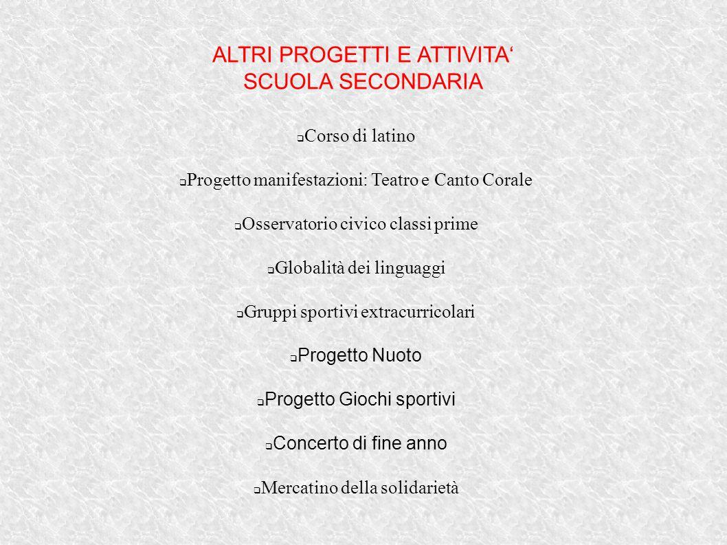 ALTRI PROGETTI E ATTIVITA' SCUOLA SECONDARIA  Corso di latino  Progetto manifestazioni: Teatro e Canto Corale  Osservatorio civico classi prime  G