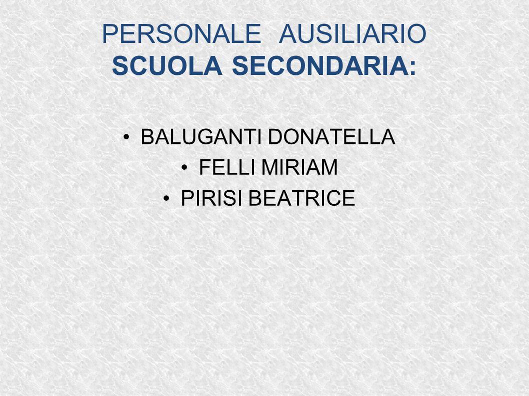 PERSONALE AUSILIARIO SCUOLA SECONDARIA: BALUGANTI DONATELLA FELLI MIRIAM PIRISI BEATRICE