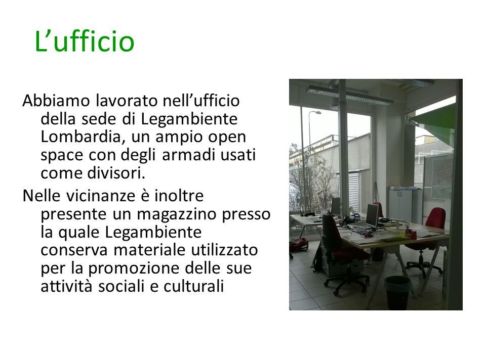 L'ufficio Abbiamo lavorato nell'ufficio della sede di Legambiente Lombardia, un ampio open space con degli armadi usati come divisori. Nelle vicinanze