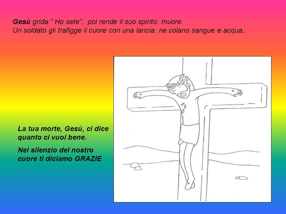 """Gesù grida:"""" Ho sete""""; poi rende il suo spirito: muore. Un soldato gli trafigge il cuore con una lancia: ne colano sangue e acqua.. La tua morte, Gesù"""