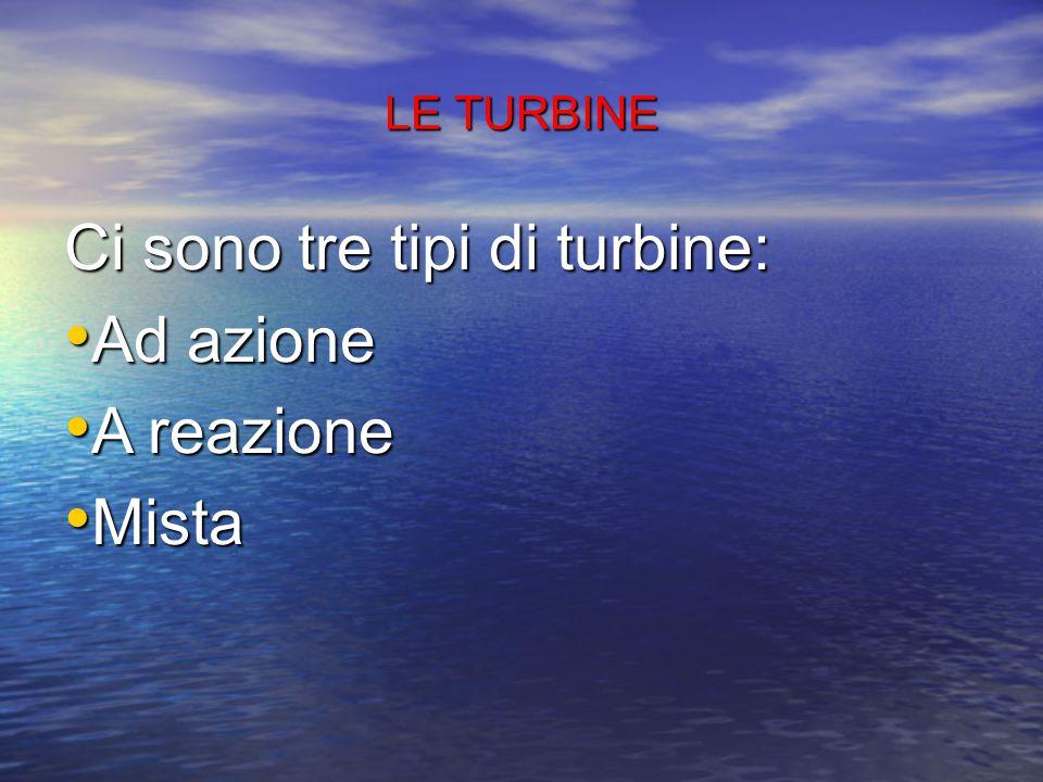 LE TURBINE Le turbine possono essere: - Turbina radiale, quando il liquido scorre dall'interno all'esterno (o viceversa) rispetto all'asse di rotazion
