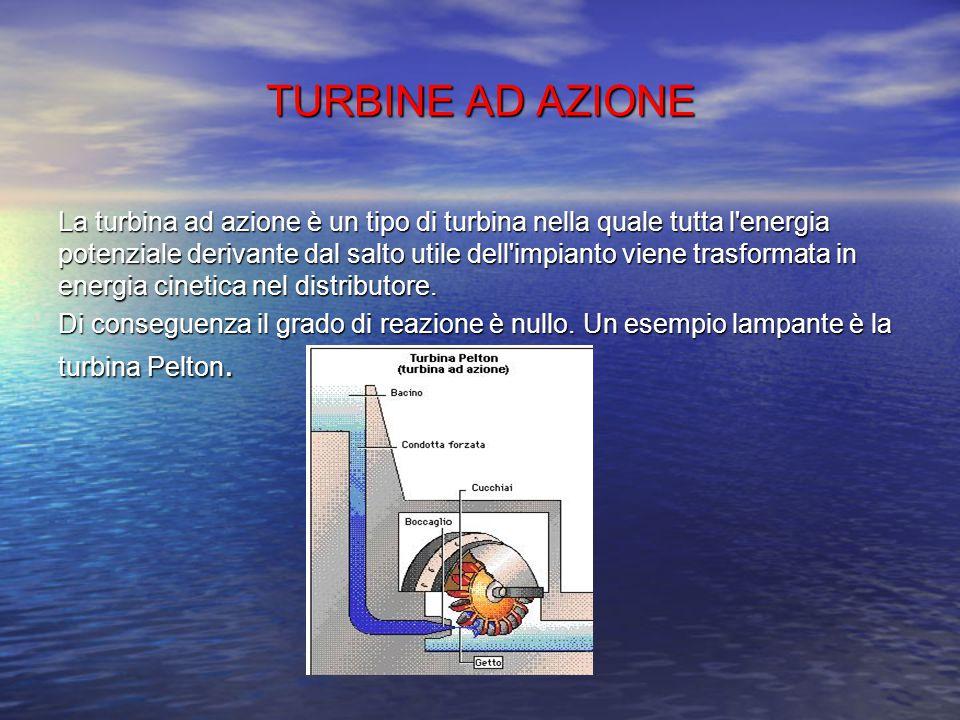 LE TURBINE Ci sono tre tipi di turbine: Ad azione Ad azione A reazione A reazione Mista Mista