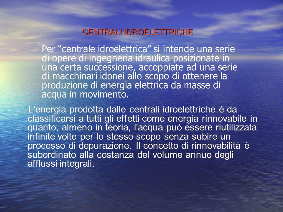ENERGIA IDROELETTRICA Per creare l'energia idroelettrica vengono costruite le CENTRALI IDROELETTRICHE Esempio di centrale idroelettrica