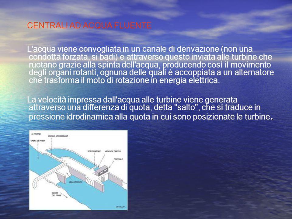 TIPI DI CENTRALE IDROELETTRICA Esistono diversi tipi di centrale idroelettrica: