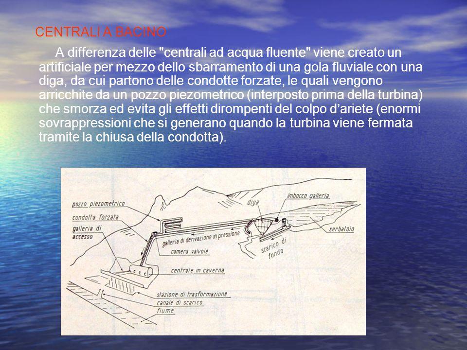 CENTRALI AD ACQUA FLUENTE L'acqua viene convogliata in un canale di derivazione (non una condotta forzata, si badi) e attraverso questo inviata alle t