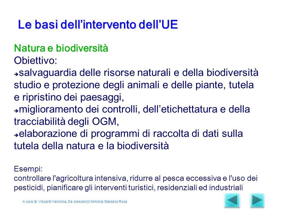 Natura e biodiversità Obiettivo:  salvaguardia delle risorse naturali e della biodiversità studio e protezione degli animali e delle piante, tutela e
