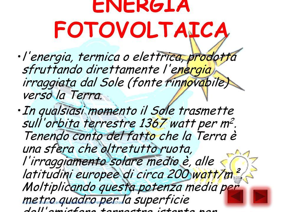 ENERGIA FOTOVOLTAICA l'energia, termica o elettrica, prodotta sfruttando direttamente l'energia irraggiata dal Sole (fonte rinnovabile) verso la Terra