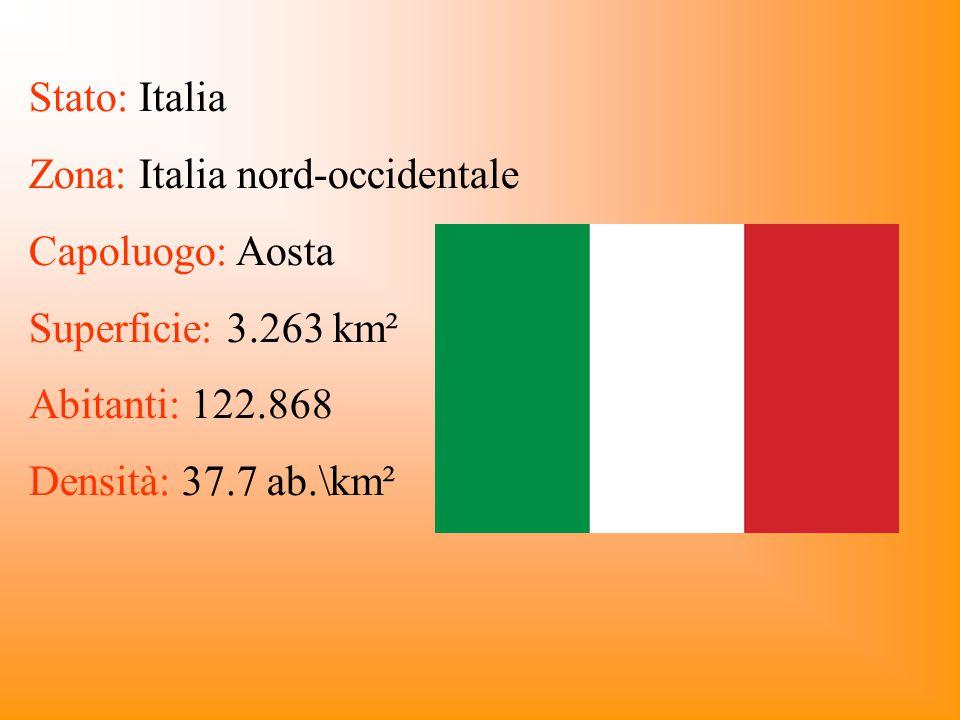 Stato: Italia Zona: Italia nord-occidentale Capoluogo: Aosta Superficie: 3.263 km² Abitanti: 122.868 Densità: 37.7 ab.\km²