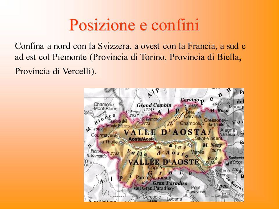 Posizione e confini Confina a nord con la Svizzera, a ovest con la Francia, a sud e ad est col Piemonte (Provincia di Torino, Provincia di Biella, Pro