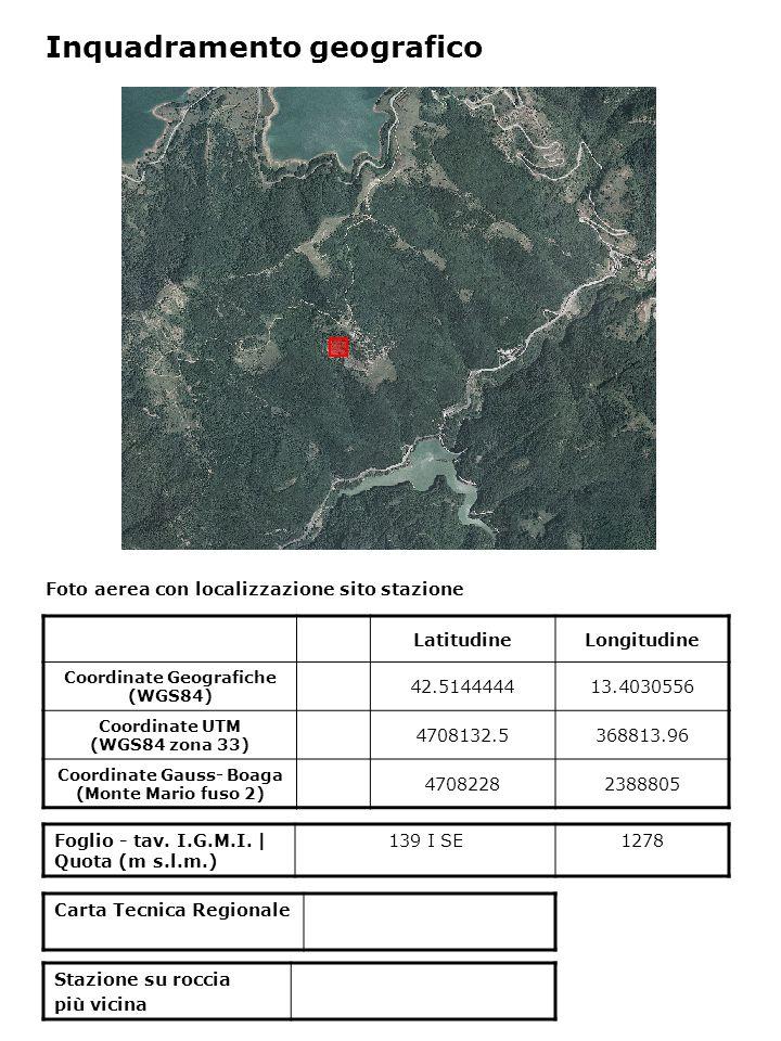 Foto aerea con localizzazione sito stazione Foglio - tav. I.G.M.I. | Quota (m s.l.m.) 139 I SE1278 Inquadramento geografico LatitudineLongitudine Coor