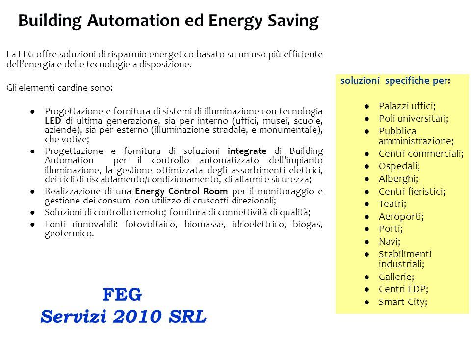 Building Automation ed Energy Saving La FEG offre soluzioni di risparmio energetico basato su un uso più efficiente dell'energia e delle tecnologie a disposizione.