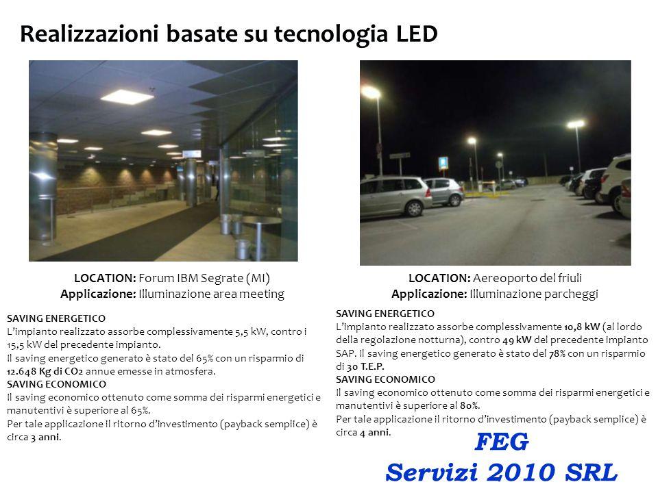 Realizzazioni basate su tecnologia LED LOCATION: Forum IBM Segrate (MI) Applicazione: Illuminazione area meeting SAVING ENERGETICO L'impianto realizzato assorbe complessivamente 5,5 kW, contro i 15,5 kW del precedente impianto.