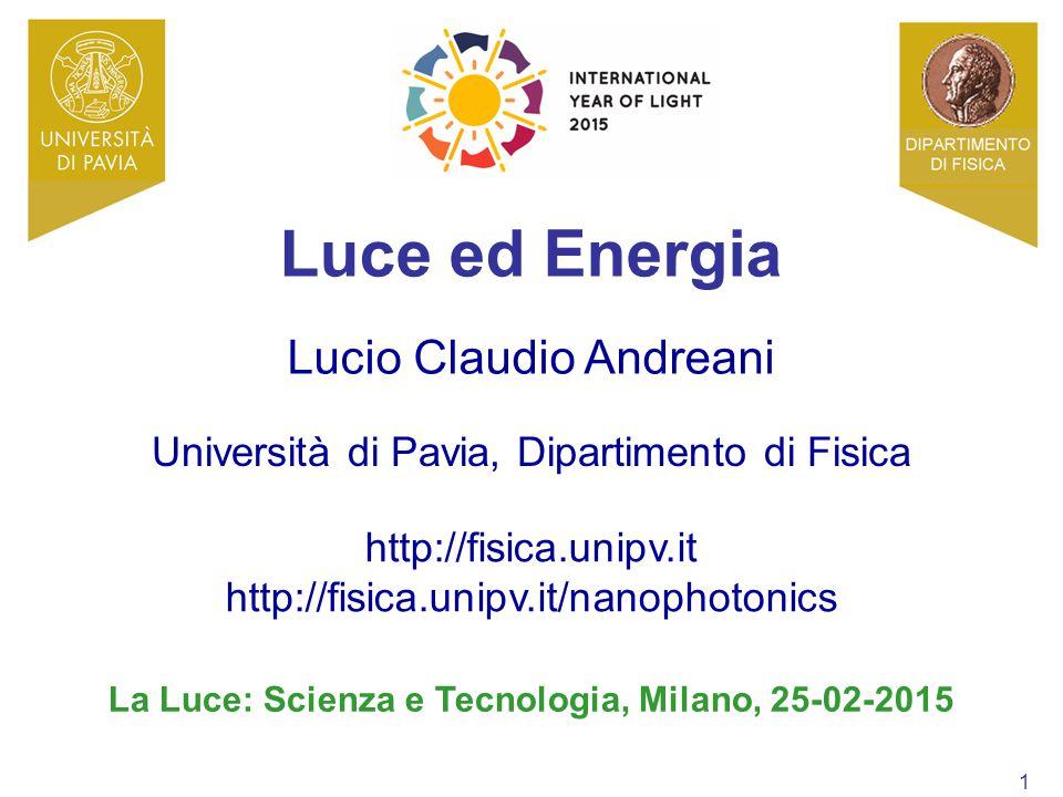 1 Università di Pavia, Dipartimento di Fisica http://fisica.unipv.it http://fisica.unipv.it/nanophotonics Lucio Claudio Andreani La Luce: Scienza e Te
