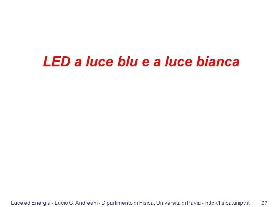 Luce ed Energia - Lucio C. Andreani - Dipartimento di Fisica, Università di Pavia - http://fisica.unipv.it 27 LED a luce blu e a luce bianca