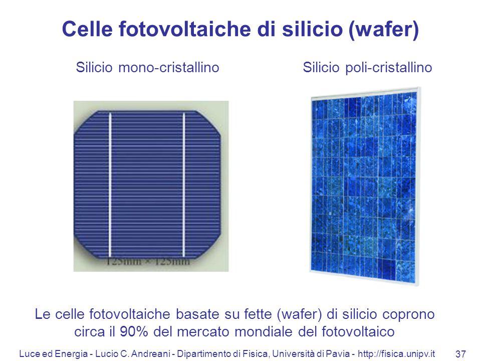 Luce ed Energia - Lucio C. Andreani - Dipartimento di Fisica, Università di Pavia - http://fisica.unipv.it 37 Celle fotovoltaiche di silicio (wafer) S