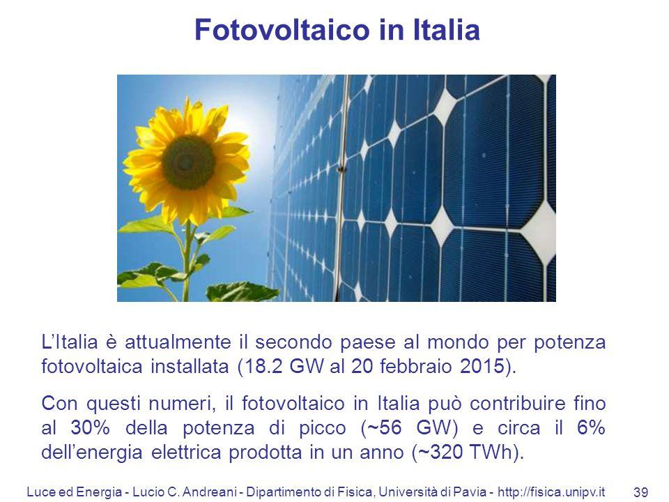 Luce ed Energia - Lucio C. Andreani - Dipartimento di Fisica, Università di Pavia - http://fisica.unipv.it 39 Fotovoltaico in Italia L'Italia è attual