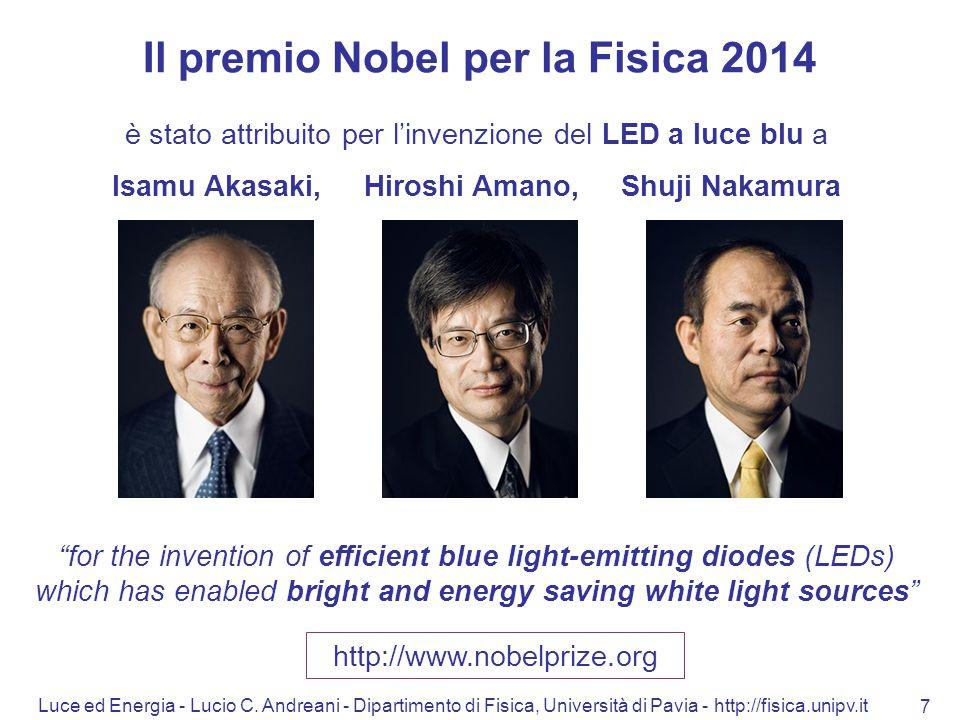 Luce ed Energia - Lucio C. Andreani - Dipartimento di Fisica, Università di Pavia - http://fisica.unipv.it 7 Il premio Nobel per la Fisica 2014 è stat