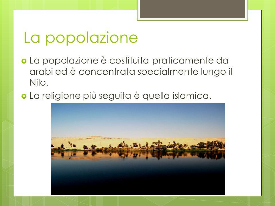 La popolazione  La popolazione è costituita praticamente da arabi ed è concentrata specialmente lungo il Nilo.  La religione più seguita è quella is
