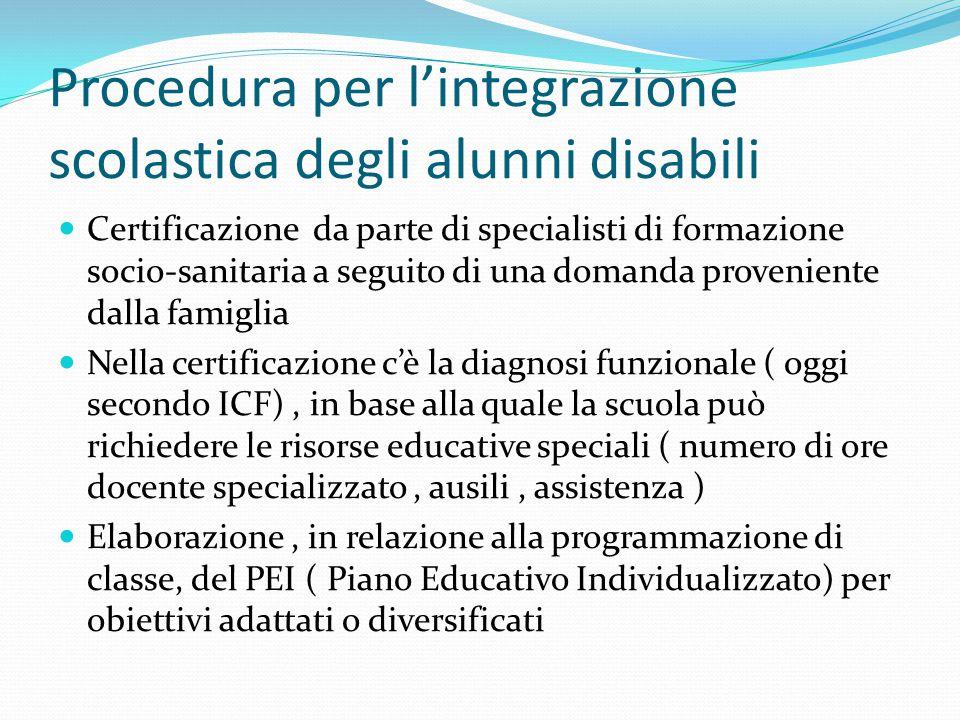 Procedura per l'integrazione scolastica degli alunni disabili Certificazione da parte di specialisti di formazione socio-sanitaria a seguito di una do