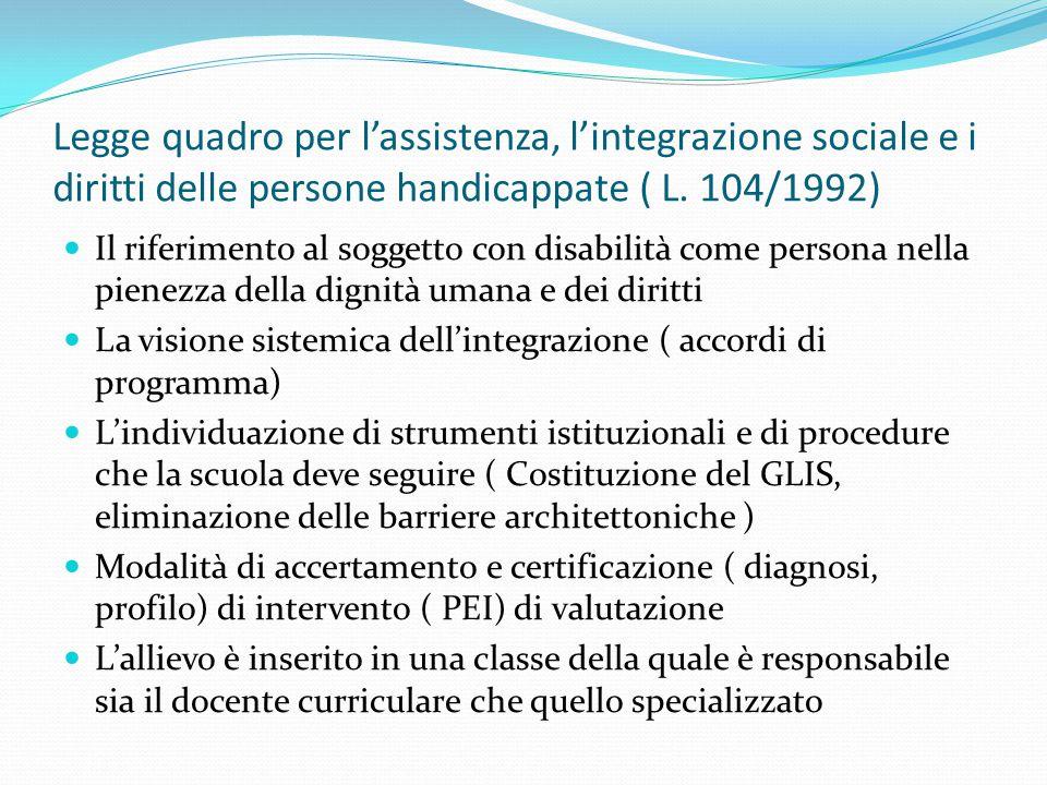 Legge quadro per l'assistenza, l'integrazione sociale e i diritti delle persone handicappate ( L. 104/1992) Il riferimento al soggetto con disabilità