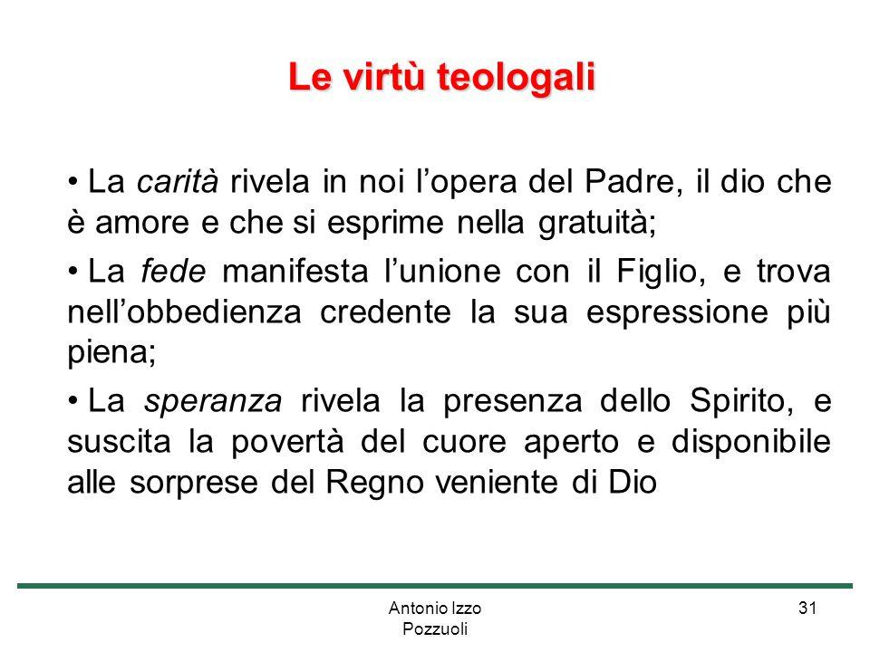 Antonio Izzo Pozzuoli 31 Le virtù teologali Le virtù teologali La carità rivela in noi l'opera del Padre, il dio che è amore e che si esprime nella gr