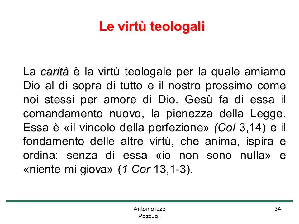 Antonio Izzo Pozzuoli 34 Le virtù teologali Le virtù teologali carità La carità è la virtù teologale per la quale amiamo Dio al di sopra di tutto e il