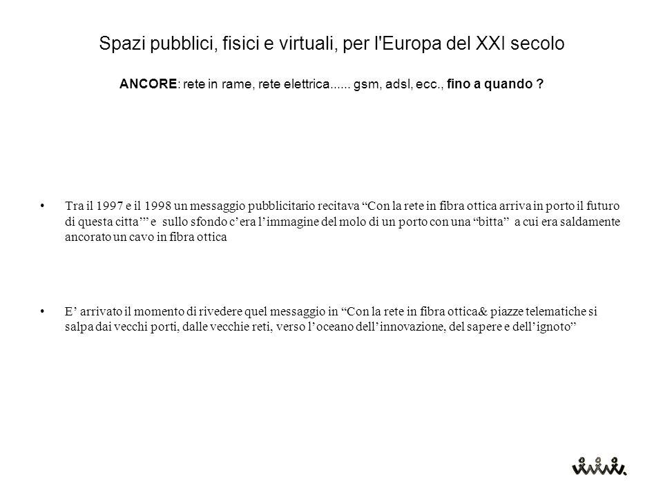 Spazi pubblici, fisici e virtuali, per l Europa del XXI secolo ANCORE: rete in rame, rete elettrica......