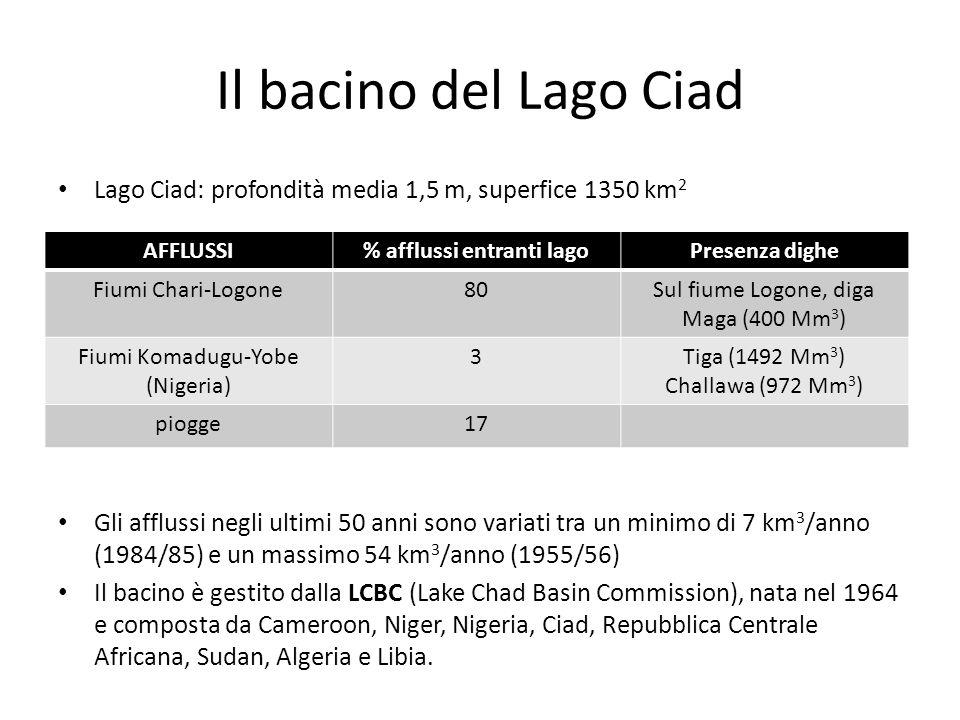 Il bacino del Lago Ciad Lago Ciad: profondità media 1,5 m, superfice 1350 km 2 Gli afflussi negli ultimi 50 anni sono variati tra un minimo di 7 km 3