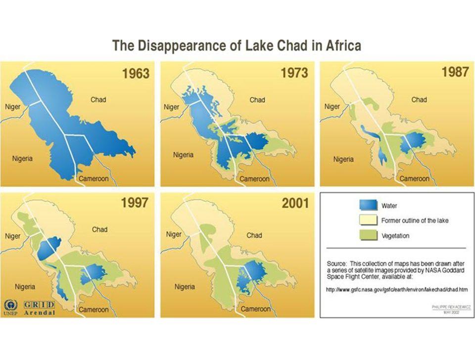 Il problema del Lago Ciad Negli ultimi 40 anni la superficie del lago si è ridotta del 90%, passando nella stagione delle pioggie dai 25.000 km 2 del