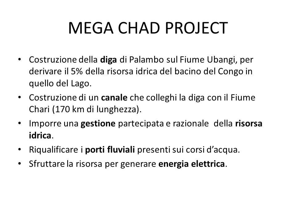 Costruzione della diga di Palambo sul Fiume Ubangi, per derivare il 5% della risorsa idrica del bacino del Congo in quello del Lago. Costruzione di un
