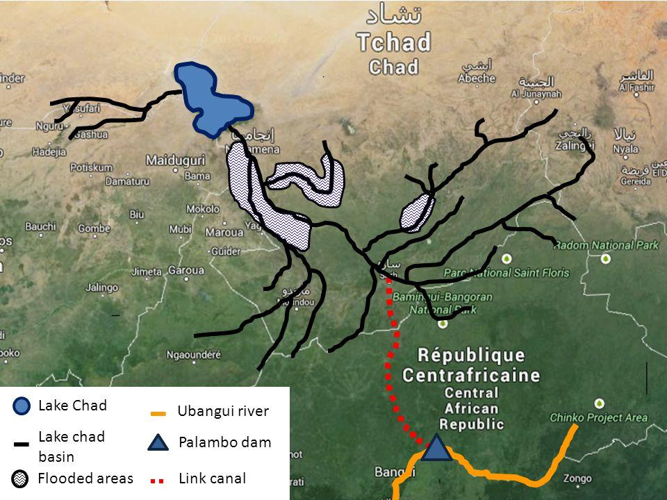 Lake Chad Lake chad basin Flooded areasLink canal Palambo dam Ubangui river