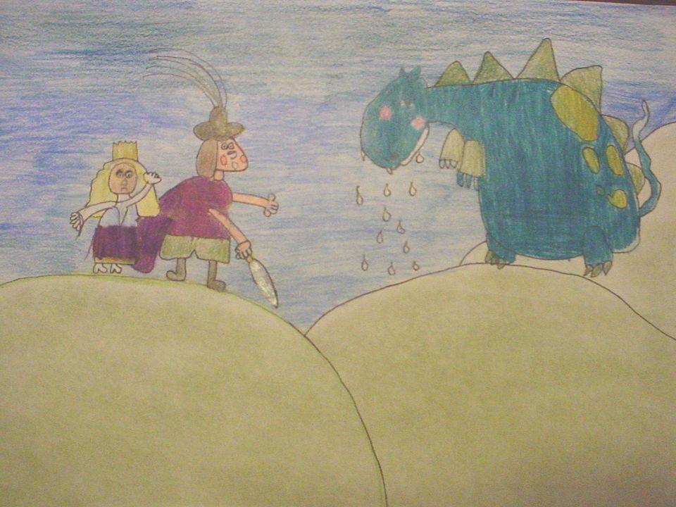 Ogni sera, effettivamente, la principessa andava a passeggio fino alla rupe. Quando il drago la vide, non ebbe il coraggio di catturarla e se ne restò