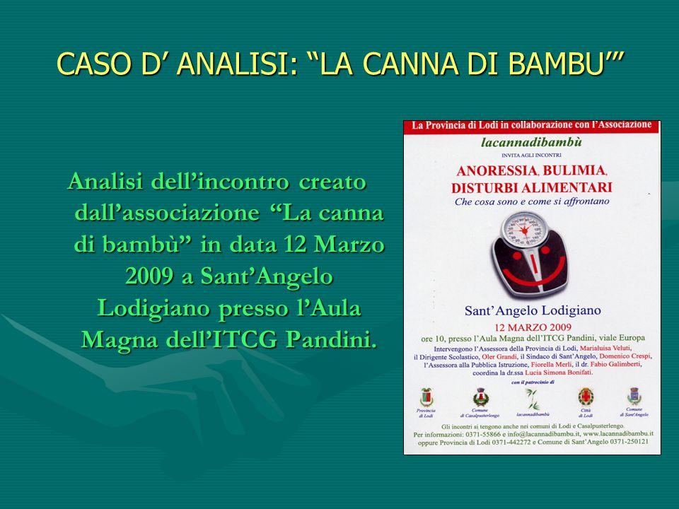 """CASO D' ANALISI: """"LA CANNA DI BAMBU'"""" Analisi dell'incontro creato dall'associazione """"La canna di bambù"""" in data 12 Marzo 2009 a Sant'Angelo Lodigiano"""