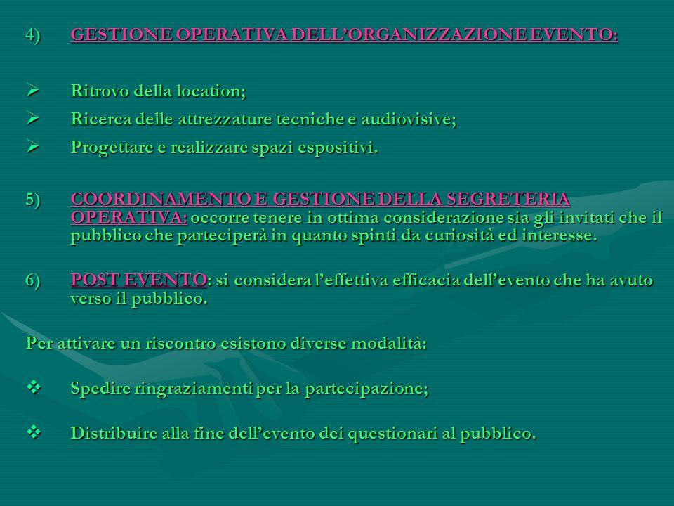 4)GESTIONE OPERATIVA DELL'ORGANIZZAZIONE EVENTO:  Ritrovo della location;  Ricerca delle attrezzature tecniche e audiovisive;  Progettare e realizz